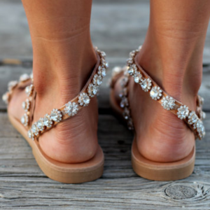 Handmade Crystal Flat Sandals