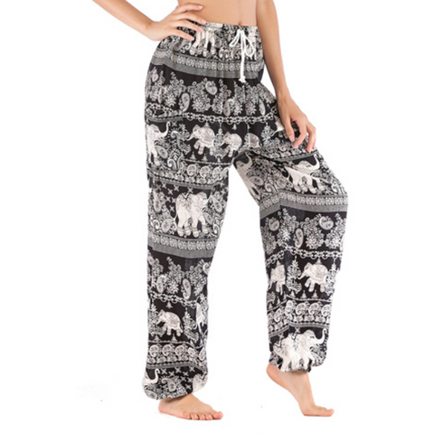 Hummingbird Handmade Paisley Elephant Loose Yoga Pants With Drawstring (3 colors)
