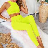 Hummingbird Neon High-rise Back Zip Sports Set containing a racerback sports bra and a pair of cropped leggings. Perfect for workout and yoga.