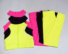 Load image into Gallery viewer, Hummingbird Neon High-rise Back Zip Sports Set containing a racerback sports bra and a pair of cropped leggings. Perfect for workout and yoga.