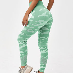 Hummingbird Camouflage High Rise Seamless Sports Set - Green Leggings