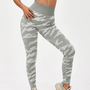 Hummingbird Camouflage High Rise Seamless Sports Set - Grey Leggings