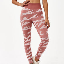 Load image into Gallery viewer, Hummingbird Camouflage High Rise Seamless Sports Set - Soft Red Leggings
