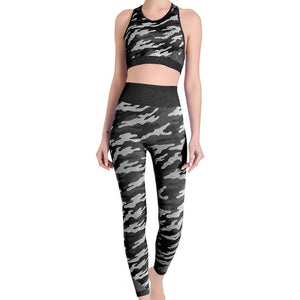Hummingbird Camouflage High Rise Seamless Sports Set - Black