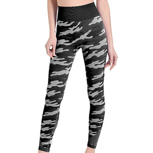Hummingbird Camouflage High Rise Seamless Sports Set - Black Leggings