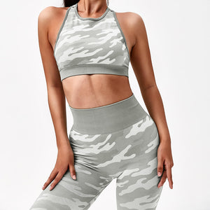 Hummingbird Camouflage High Rise Seamless Sports Set - Grey