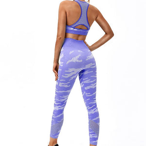 Hummingbird Camouflage High Rise Seamless Sports Set - Purple