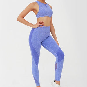 Hummingbird High Rise Seamless Sports Set - Blue - Side.  Contouring on the leggings underlines your lower body curve. Perfect for medium to high impact activities.