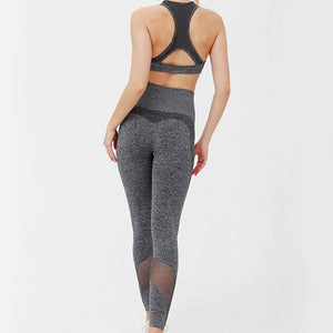 Hummingbird High Rise Seamless Sports Set - Black - Back cut out and mesh panels. Contouring on the leggings underlines your lower body curve. Perfect for medium to high impact activities.