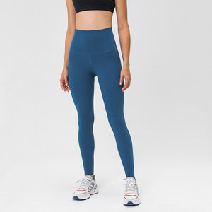 Complete the studio to street look with these Solid High Waist Hidden Pocket Leggings - Azure Blue. Featuring high rise waistband with a hidden key pocket, these fitted workout leggings are perfect for yoga, weightlifting, jogging and more, as well as running errands. Buttery soft material with a brushed feel is breathable and moisture-wicking. Ultra high waist is a perfect match with longline crop tops like our V Neck Crop Tank Longline Sports Bra.