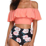Off Shoulder High Waisted Bikini Set