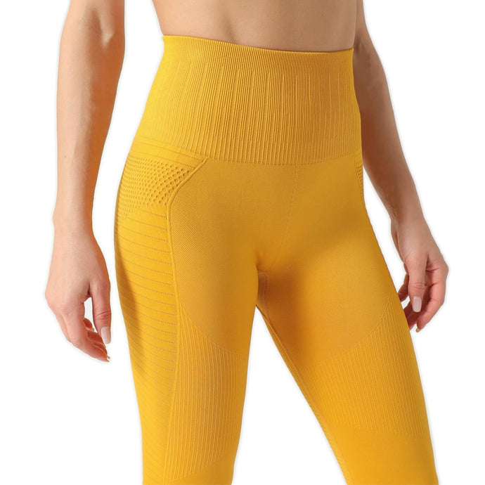 Hummingbird Honeycomb Seamless Leggings - Yellow
