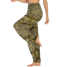Load image into Gallery viewer, Empower your energy flow during yoga practice with these Hummingbird Ink Washed Elephant Tribal Loose Yoga Pants-Moss Green. Elephants, a symbol of strength, durability and longevity, have important significance in Asian cultures. Featuring ink washed elephants and tribal elements, these loose harem pants are the must-have companion for your yoga journey, be it for asanas, pranayama, or meditation. Handmade with natural dyeing techniques. Perfect for yoga, meditation, dancing or daily wear.