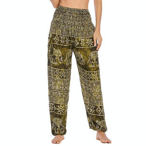 Empower your energy flow during yoga practice with these Hummingbird Ink Washed Elephant Tribal Loose Yoga Pants-Moss Green. Elephants, a symbol of strength, durability and longevity, have important significance in Asian cultures. Featuring ink washed elephants and tribal elements, these loose harem pants are the must-have companion for your yoga journey, be it for asanas, pranayama, or meditation. Handmade with natural dyeing techniques. Perfect for yoga, meditation, dancing or daily wear.