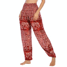Load image into Gallery viewer, Empower your energy flow during yoga practice with these Hummingbird Ink Washed Elephant Tribal Loose Yoga Pants - Burgundy. Elephants, a symbol of strength, durability and longevity, have important significance in Asian cultures. Featuring ink washed elephants and tribal elements, these loose harem pants are the must-have companion for your yoga journey, be it for asanas, pranayama, or meditation. Handmade with natural dyeing techniques. Perfect for yoga, meditation, dancing or daily wear.