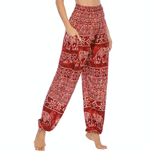 Empower your energy flow during yoga practice with these Hummingbird Ink Washed Elephant Tribal Loose Yoga Pants - Burgundy. Elephants, a symbol of strength, durability and longevity, have important significance in Asian cultures. Featuring ink washed elephants and tribal elements, these loose harem pants are the must-have companion for your yoga journey, be it for asanas, pranayama, or meditation. Handmade with natural dyeing techniques. Perfect for yoga, meditation, dancing or daily wear.