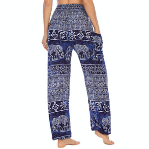 Empower your energy flow during yoga practice with these Hummingbird Ink Washed Elephant Tribal Loose Yoga Pants-Navy. Elephants, a symbol of strength, durability and longevity, have important significance in Asian cultures. Featuring ink washed elephants and tribal elements, these loose harem pants are the must-have companion for your yoga journey, be it for asanas, pranayama, or meditation. Handmade with natural dyeing techniques. Perfect for yoga, meditation, dancing or daily wear.
