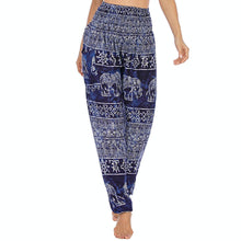 Load image into Gallery viewer, Empower your energy flow during yoga practice with these Hummingbird Ink Washed Elephant Tribal Loose Yoga Pants-Navy. Elephants, a symbol of strength, durability and longevity, have important significance in Asian cultures. Featuring ink washed elephants and tribal elements, these loose harem pants are the must-have companion for your yoga journey, be it for asanas, pranayama, or meditation. Handmade with natural dyeing techniques. Perfect for yoga, meditation, dancing or daily wear.