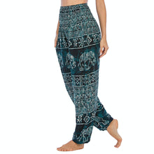 Load image into Gallery viewer, Empower your energy flow during yoga practice with these Hummingbird Ink Washed Elephant Tribal Loose Yoga Pants - Teal Green. Elephants, a symbol of strength, durability and longevity, have important significance in Asian cultures. Featuring ink washed elephants and tribal elements, these loose harem pants are the must-have companion for your yoga journey, be it for asanas, pranayama, or meditation. Handmade with natural dyeing techniques. Perfect for yoga, meditation, dancing or daily wear.