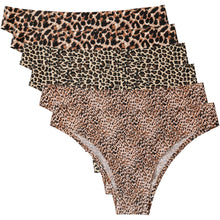 Load image into Gallery viewer, Feel the comfort from inside out in these Invisible No Show Seamless Cheeky Panties - Leopard & Cheetah 6 Pack. Bonded seams prevent chafing, and along with low rise waistline, these thongs set you free from pesky VPL (visible panty lines) under any leggings, biker shorts or jeans. Soft, smooth, lightweight and sweat wicking fabric and breathable bonded cotton gusset feel like a second skin, allowing you to be confident and comfortable even during exercise.