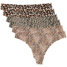 Load image into Gallery viewer, Feel the comfort from inside out in these Invisible No Show Seamless Thongs - Leopard & Cheetah 6 Pack. Bonded seams prevent chafing, and along with low rise waistline, these thongs set you free from pesky VPL (visible panty lines) under any leggings, biker shorts or jeans. Soft, smooth, lightweight and sweat wicking fabric and breathable bonded cotton gusset feel like a second skin, allowing you to be confident and comfortable even during exercise.