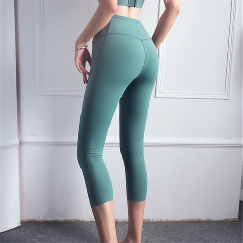 Laser Cut Mid-Rise Cropped Sports Leggings