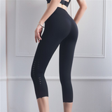 Laser Cut Mid-Rise Cropped Leggings With Pocket perfect for workout and yoga