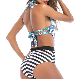 Leaf & Zebra Print Halter One Piece