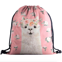 Load image into Gallery viewer, Hummingbird Llama Drawstring Gym Bag - Rosy Llama