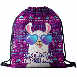 Hummingbird Llama Drawstring Gym Bag - Save The Drama For Your Llama