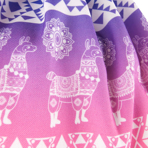 Hummingbird Llama Drawstring Gym Bag - Boho Llama Gym Bag detail 1 - Silky Touch Fabric.
