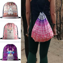 Load image into Gallery viewer, Hummingbird Llama Drawstring Gym Bag (4 Patterns). A girl wearing a boho llama gym bag along with seamless laser cut leggings.