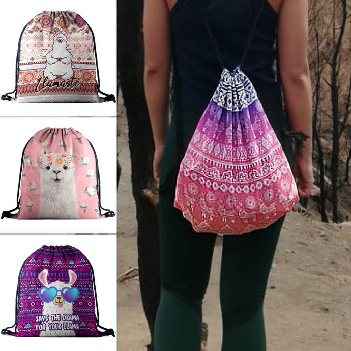 Hummingbird Llama Drawstring Gym Bag (4 Patterns). A girl wearing a boho llama gym bag along with seamless laser cut leggings.