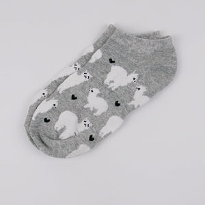 Hummingbird Llama Alpaca Cotton Ankle Socks (5 Colors) - Grey