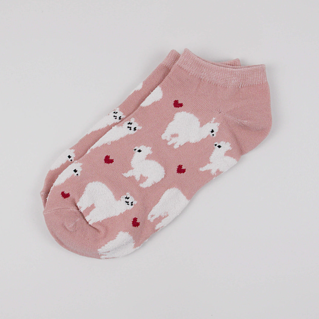Hummingbird Llama Alpaca Cotton Ankle Socks (5 Colors) - Pink