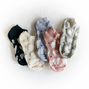 Hummingbird Llama Alpaca Cotton Ankle Socks (5 Colors)