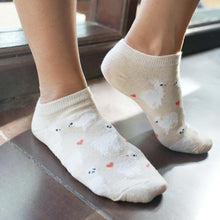 Load image into Gallery viewer, A Girl Wearing Hummingbird Llama Alpaca Cotton Ankle Socks (5 Colors) - Yellow