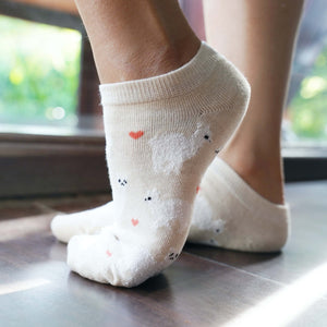 A Girl Wearing Hummingbird Llama Alpaca Cotton Ankle Socks (5 Colors) - Yellow