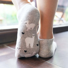 Load image into Gallery viewer, A Girl Wearing Hummingbird Llama Alpaca Cotton Ankle Socks (5 Colors) - Grey
