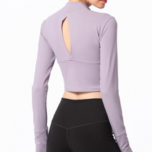 Load image into Gallery viewer, Hummingbird Long Sleeve Crop Top with front half zipper