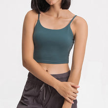 Load image into Gallery viewer, Take your active look from studio to street with this Longline Padded Sports Bra - Deep Teal. Featuring thin straps and 13-15 inch / 33-38 cm shortened length, this fitted crop tank top is ideal for low impact activities, be it for workouts, running errands or lounging. This cute camisole kisses your high waisted pants, and is easy to layer. Perfect for low impact exercise like weight training, yoga, cycling, spinning, dancing and more. Complete the look with our High Waist Hidden Pocket Leggings.