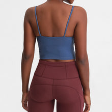 Load image into Gallery viewer, Take your active look from studio to street with this Longline Padded Sports Bra - Royal Blue. Featuring thin straps and 13-15 inch / 33-38 cm shortened length, this fitted crop tank top is ideal for low impact activities, be it for workouts, running errands or lounging. This cute camisole kisses your high waisted pants, and is easy to layer. Perfect for low impact exercise like weight training, yoga, cycling, spinning, dancing and more. Complete the look with our High Waist Hidden Pocket Leggings.