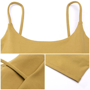Longline Padded Sports Bra Camisole Crop Tank Top (19 Colors)