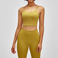 Load image into Gallery viewer, Take your active look from studio to street with this Longline Padded Sports Bra - Citron. Featuring thin straps and 13-15 inch / 33-38 cm shortened length, this fitted crop tank top is ideal for low impact activities, be it for workouts, running errands or lounging. This cute camisole kisses your high waisted pants, and is easy to layer. Perfect for low impact exercise like weight training, yoga, cycling, spinning, dancing and more. Complete the look with our High Waist Hidden Pocket Leggings.