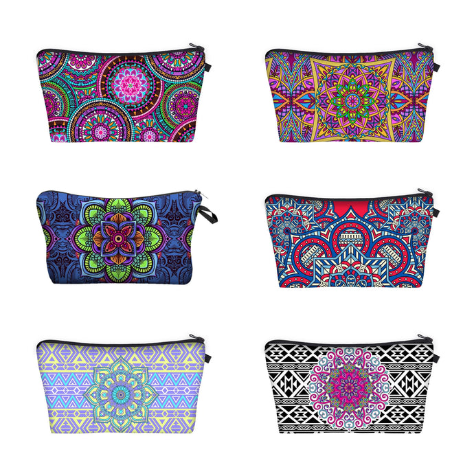 Bohemian Makeup Bag - Cyber Mandala (6 Patterns)