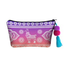 Load image into Gallery viewer, Hummingbird Llama Makeup Bag - Boho Llama
