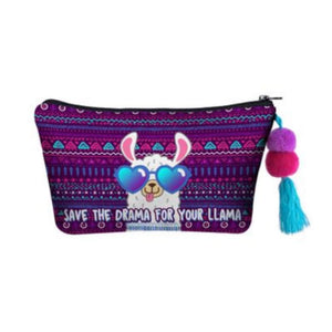 Hummingbird Llama Makeup Bag - SAVE THE DRAMA FOR YOUR LLAMA