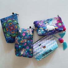 Load image into Gallery viewer, Hummingbird Makeup Bags with Boho, Llama and Sloth patterns