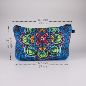 Bohemian Makeup Bag - Cyber Mandala (6 Patterns) - Dimension