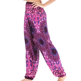 Hummingbird Mandala Paisley Print Loose Yoga Pants (Rayon) made of fast dry, soft and breathable material, perfect for meditation, dancing, yoga, summer vacation and street wear